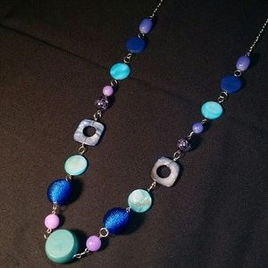 Jewelry - Long Blue & Pink Seashell & Wooden Bead Necklace